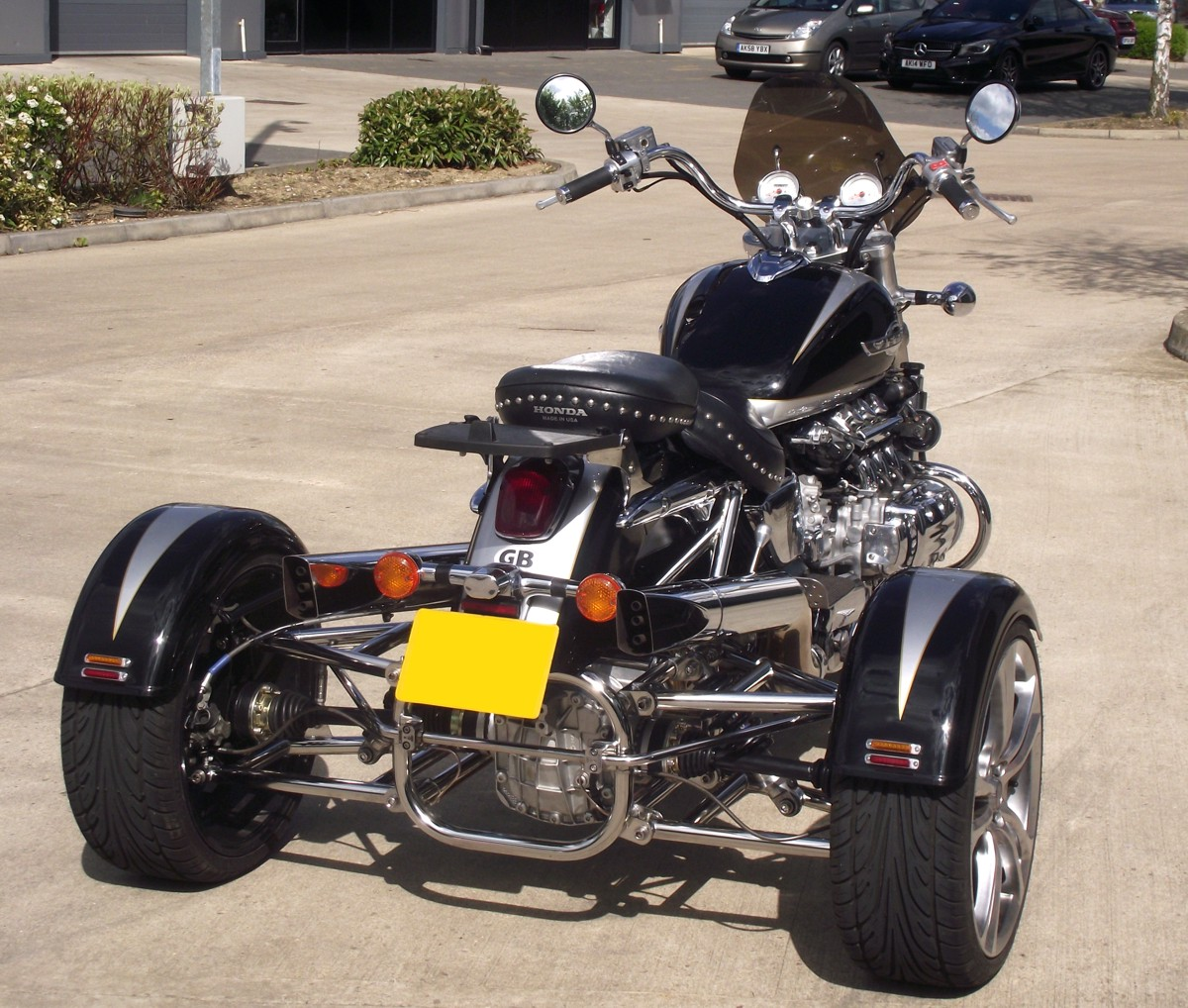 Casarva Honda Valkyrie F6C IRS trike with mirror polished stainless steel tube conversion and reverse gearbox