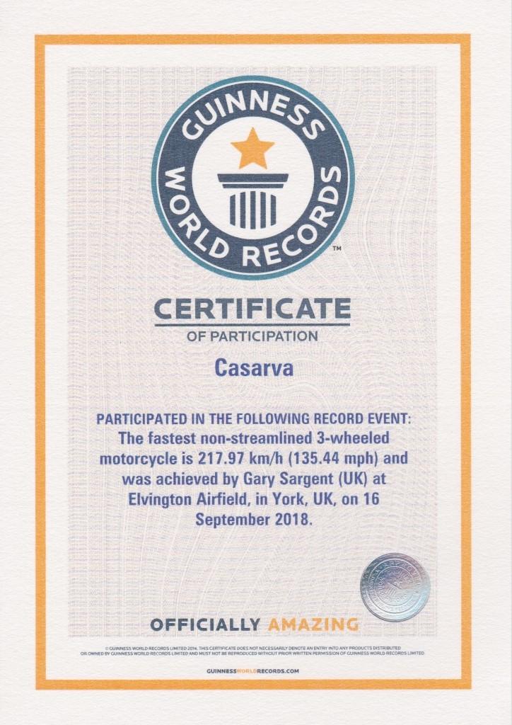 Guinness Certificate WLSR
