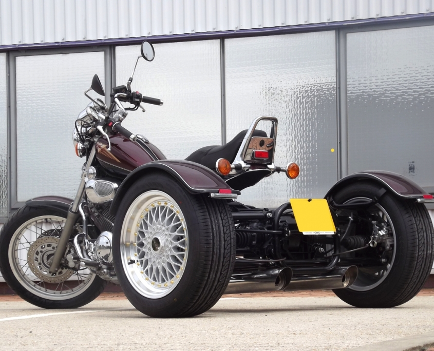 Casarva Yamaha Virago 750 IRS trike with reverse gearbox and Casarva Stainless slash cut exhaust system